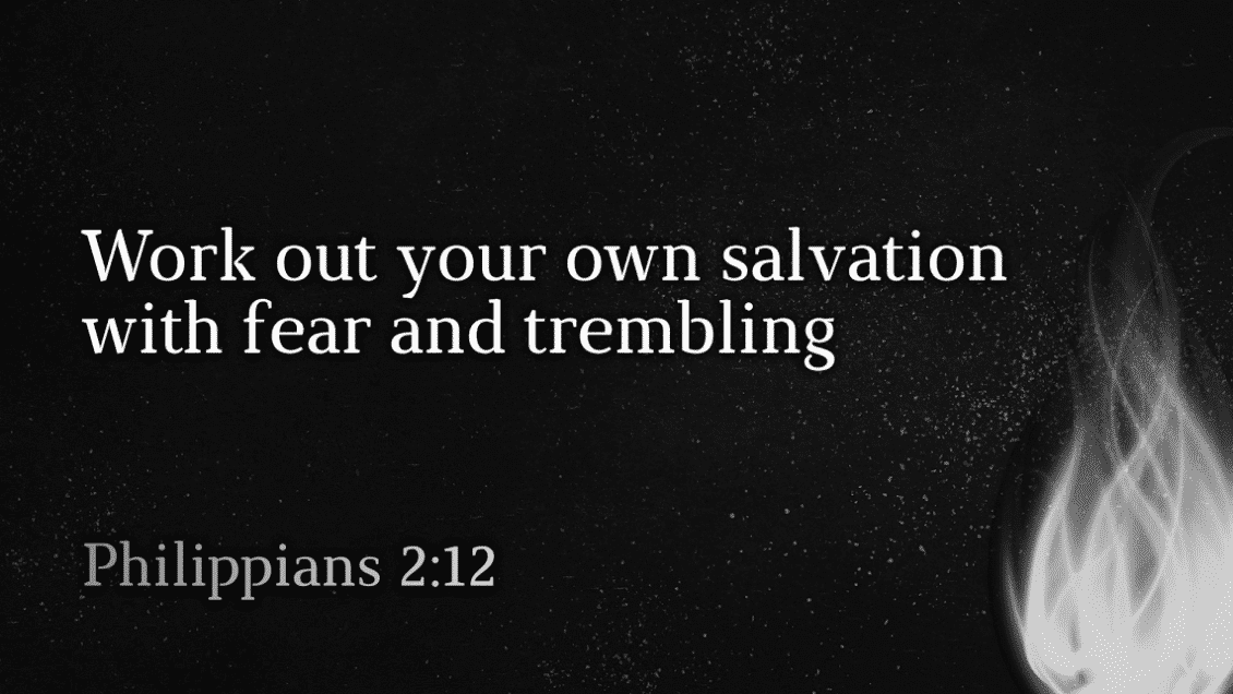Work out your own salvation with fear and trembling. Philippians 2:12